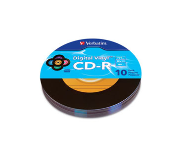 CD-R VERBATIM 80MIN, DIGITAL VINYL 700MB, MULTI-COLOR, 10 PACK