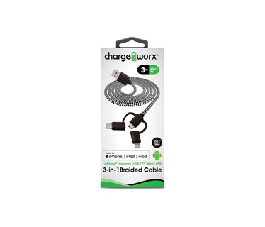 CABLE CARGADOR MICRO USB PARA EQUIPOS ANDROID & USB- C Y LIGHTNING, CHARGEWORX, PUNTA DE 3P PINES PARA APPLE Y ANDROID, 3FT, NEGRO