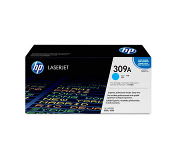 TONER HP 309A - Q2671A - TONER CARTRIDGE - 1 X CYAN - 4000 PAGES - FOR COLOR LASERJET 3500, 3500N, 3550, 3550N