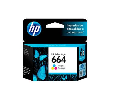 CARTUCHO HP 664 TRICOLOR INK CARTRIDGE, PARA IMPRESORAS INK ADVANTAGE 2135, 3635, 4535, 3835.
