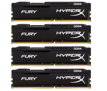 MEMORIA 16GB (4X4GB) KINGSTON, PC/DESKTOP, DDR4, 2133MHZ, PC4-17000, NO-ECC. HYPERX FURIX BLACK