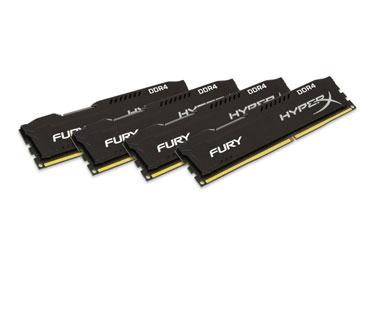 MEMORIA 16GB (4X4GB) KINGSTON, PC/DESKTOP, DDR4, 2400MHZ, PC4-19200, NO-ECC. HYPERX FURIX BLACK.