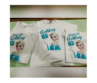 Tshirt algodón transfer blanco con 2 impresiones