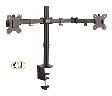 BASE PARA MONITOR LCD KLIPX DOBLE, PARA DOS MONITORES, 13-32 PULGS. INCLINACION DE 90 GRADOS PESO MAX 8KG/17.6LB (KPM-310)