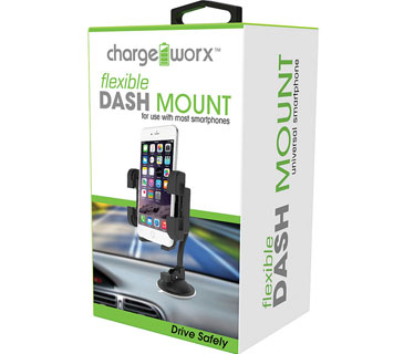 BASE PARA TABLERO DE VEHICULO FLEXIBLE - CHARGE WORX - UNIVERSAL PARA SMARTPHONES Y IPODS (CX9904BK)