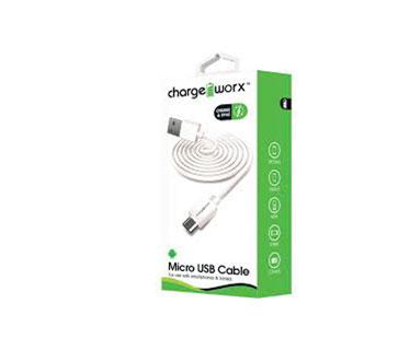 CABLE MICRO USB, CHARGE WORX 3FT, PARA CELULARES, TABLETAS Y DISPOSITIVOS, BLANCO (CX4604WH)
