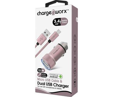 CARGADOR PARA CARRO CHARGE WORX, DUAL USB 3.4A, + CABLE MICRO USB, PLATEADO, (CX3044BK)