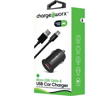 CARGADOR PARA CARRO CHARGE WORX, USB 1.0A, + CABLE MICRO USB, NEGRO, (CX3107BK)