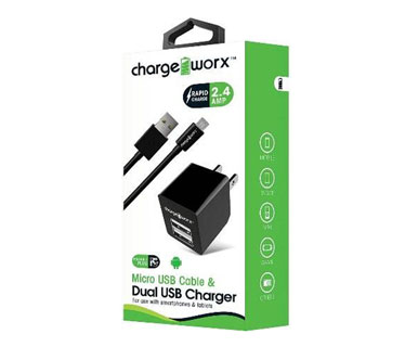 CARGADOR USB DE PARED CHARGE WORX, DUAL USB 2.4A, + CABLE MICRO USB, NEGRO, (CX3206BK)