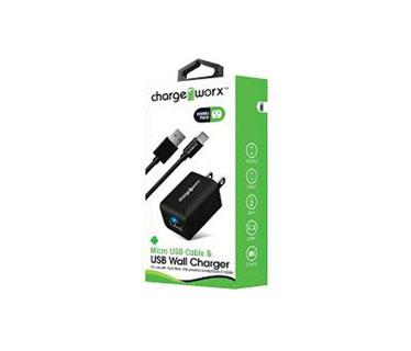 CARGADOR USB, CHARGE WORX, DE PARED P/CELULARES,MP3, 1.0 A + CABLE MICRO USB, NEGRO (CX3108BK)