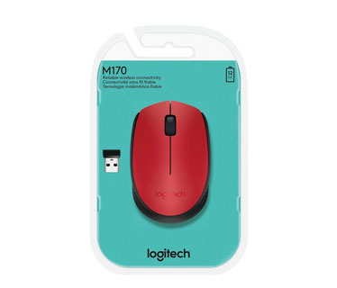 MOUSE LOGITECH M170 INALAMBRICO OPTICO, RECEPTOR USB, RED, (910-004941)