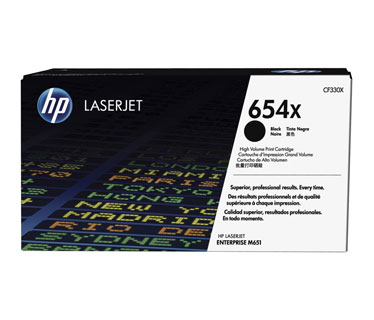 TONER HP 654X (CF330X) - BLACK - YIELD 20,500 PAGES - FOR LASERJET M651