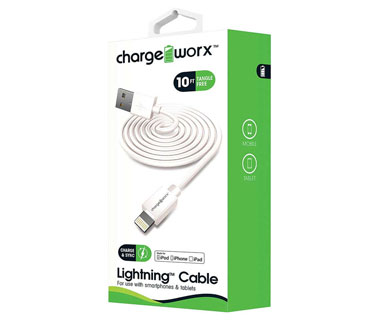 CABLE LIGHTNING CHARGE WORX (CERTIFICADO) 10FT, PARA IPHONE, BLANCO (CX4601WH)