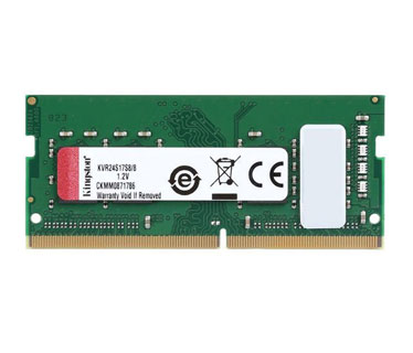 MEMORIA 8GB (1X8GB) KINGSTON, P/LAPTOP, DDR4-2400MHZ, PC4-2400, CL17 260-PIN SODIMM.