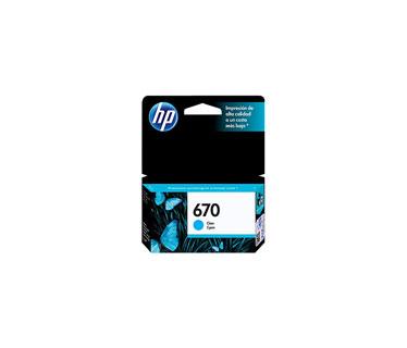 CARTUCHO HP 670 - PRINT CARTRIDGE - 1 X DYE-BASED CYAN - 300 PAGES - FOR DESKJET INK ADVANTAGE 3525, DJ4615, DJ3525, DJ5525, DJ4625