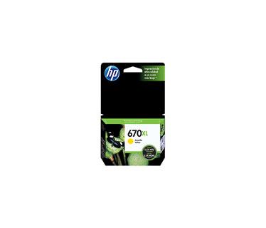 CARTUCHO HP 670XL - PRINT CARTRIDGE - 1 X DYE-BASED YELLOW - 750 PAGES - FOR DESKJET INK ADVANTAGE 3525, DJ4615, DJ3525, DJ5525, DJ4625