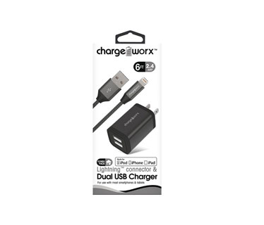 CARGADOR DE PARED MAS CABLE LIGHTNING , CHARGE WORX, 2.4AMP, P/CELULARES,MP3, 3.0 A NEGRO