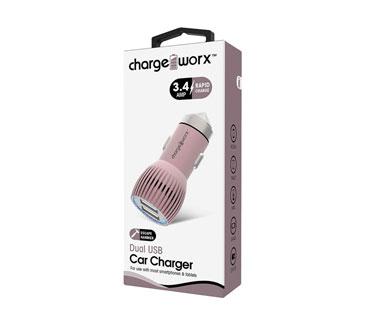 CARGADOR PARA CARRO, CHARGE WORX, DUAL USB 3.4A, ROSADO, RAPID CHARGE