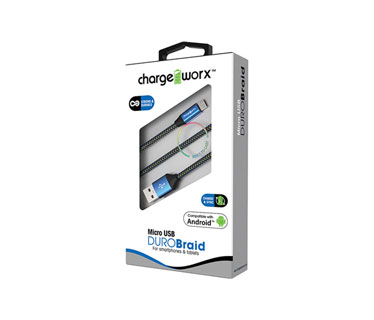 CABLE MICRO USB CHARGE WORX, 3FT, AZUL