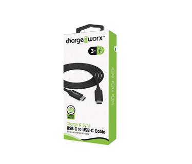 CABLE MICRO USB-C A USB-C, CHARGE WORX 3FT, NEGRO
