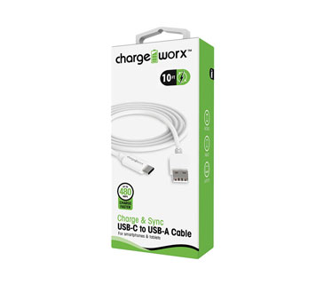 CABLE USB-C A USB-A CHARGEWORX, 10FT, PARA CELULARES Y TABLETAS, BLANCO