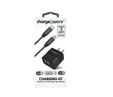 CARGADOR DE PARED MAS CABLE MICRO USB , CHARGE WORX, 2.4AMP, P/CELULARES, MP3, INCLUYE CABLE USB C, GOLD