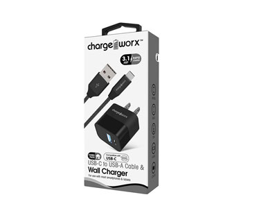 CARGADOR DE PARED MAS CABLE MICRO USB, CHARGE WORX, 3.1AMP,  P/CELULARES,MP3, CARGA RAPIDA, NEGRO