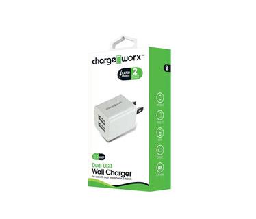 CARGADOR DUAL USB CHARGE WORX DE PARED P/CELULARES, MP3, 2.1A, BLANCO