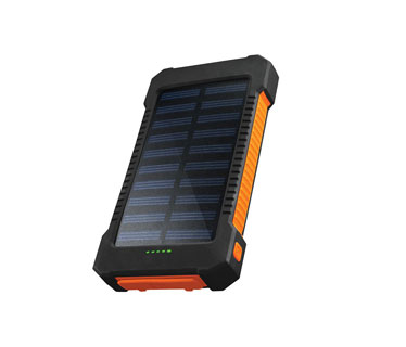 CARGADOR MOVIL SOLAR CHARGEWORX (POWER BANK), BACKUP BATTERY, 10,000 MAH, 2X USB OUTPUT 5V/1A/2.1A MAXIMO, NEGRO