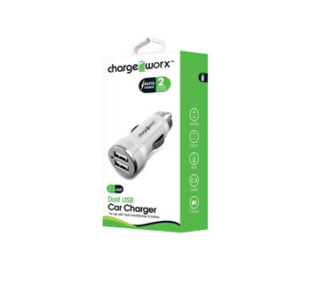 CARGADOR PARA CARRO, CHARGE WORX, DUAL USB 2.1A, BLANCO