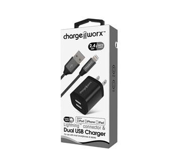 CARGADOR USB DUAL CHARGE WORX DE PARED P/CELULARES, MP3, 2.4A, NEGRO