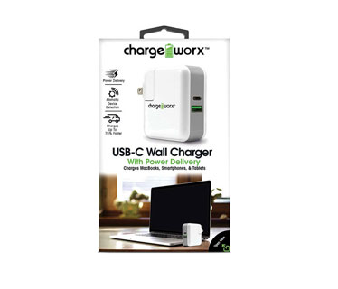 CARGADOR USB, CHARGE WORX, DE PARED P/CELULARES, MP3, TYPE C / PD POWER OUTPUT:5V3A /9V3A /12V2A /14.5V2A /20V1.45A, CARGA HASTA UN 75% MAS RAPIDO, BLANCO