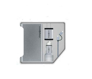 KIT POWER BANK + WALL CHARGER + CAR + MICRO USB + USB-C PLATEADO