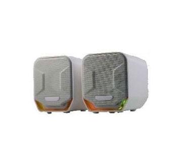 BOCINA USB MYO MINI-SPEAKER 2.0, LED, 3.5MM CONEXION DE AUDIO, CONTROL DE LUZ & VOLUMEN, COLOR BLANCO.