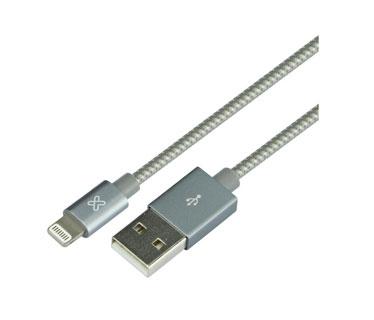CABLE LIGHTNING KLIPX, TRENZADO 1.6 FT PARA IPHONE, PLATEADO
