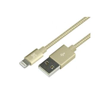 CABLE LIGHTNING KLIPX, TRENZADO 6.5 FT PARA IPHONE, DORADO