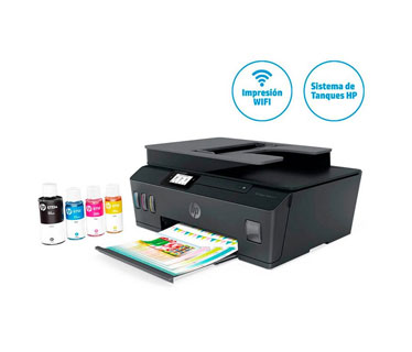 IMPRESORA HP SMART TANK 615 - ALL IN ONE PRINTER ADF (COPY - SCAN - FAX - PRINTER)- SISTEMA DE TINTA CONTINUA - INALAMBRICO - COLOR - PRINT SPEED BLACK: ISO, UP TO 11 PPM, DRAFT, UP TO 22 PPM. (12000 PAGINAS NEGRO) PRINT SPEED COLOR: ISO, UP TO 6 PPM, DRAFT, UP TO 16 PPM. (8000 PAGINAS COLOR) SCAN RESOLUTION, OPTICAL UP TO 1200 X 1200 DPI. COPY RESOLUTION: UP TO 1200 X 1200 DPI. USB. USA LOS CARTUCHOS GT53 - GT52