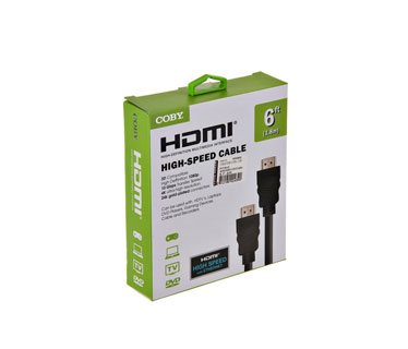 CABLE HDMI 6 PIES COBY, 4K, 2.0 ULTRA-HD, NEGRO.