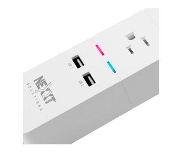 REGLETA NEXXT SMART INALAMBRICA, 3 TOMAS DE CORRIENTE + 2 PUERTOS USB, ENCENDIDO Y APAGADO PROGRAMABLE VIA SOFTWARE, LAS TOMAS Y LOS PUERTOS SE MANEJAN POR SEPARADOS. (MM105NXT07)