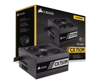 POWER SUPPLY CORSAIR 750W SEMI MODULAR 80 PLUS, CONECTORES PCI-E X2, SATA X6, PATA X6, COLOR NEGRO
