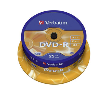 DVD-R VERBATIM 16X, 4.7GB, SPINDLE, 25PK