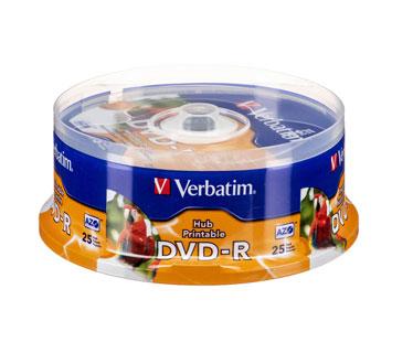 DVD-R VERBATIM 16X, 4.7GB, SPINDLE, WHITE INKJET PRINTEABLE, 25PK