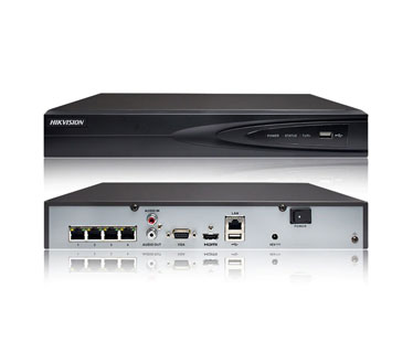 NVR HIKVISION, 4 CANALES, 4K (3840 X 2160) RESOLUTION, CONECTA HASTA 4 CAMARAS, GRABACION HASTA 8MP, COMPRESIONES H.265 / H.264 / MPEG4 VIDEO, SALIDAS HDMI Y VGA, 4 POE.