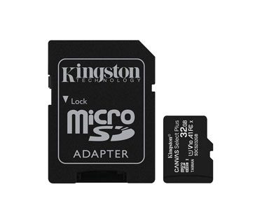 MEMORIA MICROSD 32GB KINGSTON, SDHC, CLASE 10 UHS-1, A1, INCLUYE ADATADOR SD.