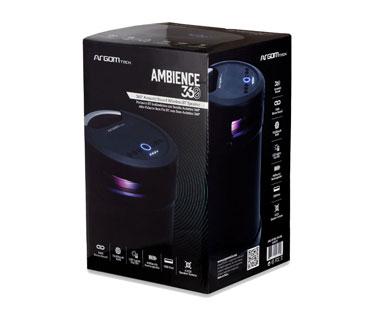 BOCINA ARGOM, 10W, AMBIENCE 360 TWS WIRELESS BT SPEAKER, 1/4, ENTRADA DE MICROFONO PARA KARAOKE, USB, NEGRO.