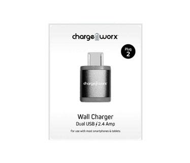 CARGADOR DE PARED DUAL USB (2.4AMP) PARA SMARTPHONES & TABLETS, GRIS