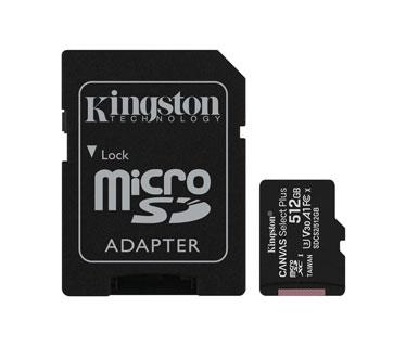 MEMORIA MICROSD 512GB KINGSTON, SDHC, CLASE 10 UHS-1, A1, INCLUYE ADAPTADOR SD.-
