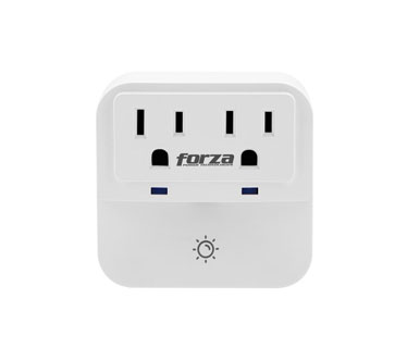 "TOMACORRIENTE DOBLE FORZA, 2 ENCHUFES, LUZ NOCTURNA, PROTECTOR SOBRETENSIÃ""N, 1250 WATTS"
