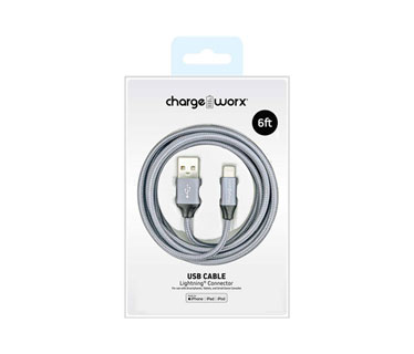 CABLE LIGHTNING PARA SMARTPHONES & TABLETS, CHARGEWORX, 6FT