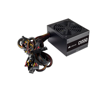 POWER SUPPLY CORSAIR 550 WATTS, 80 PLUS BRONZE (CV550), CONECTORES PCI-E X2, SATA X5, PATA X4, COLOR NEGRO